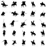Knight and horse silhouette set Royalty Free Stock Photo