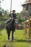 Knight on horse tournament Stock Photography