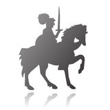 Knight on horse vector silhouette. Vectored illustration of medieval knight riding on horse with armor and sword Royalty Free Stock Image