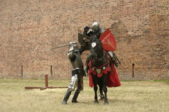 Knight on horse. With weapon in hand Royalty Free Stock Image