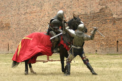 Knight on horse. With weapon in hand Stock Photography
