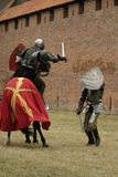 Knight on horse. With weapon in hand Royalty Free Stock Photos