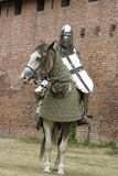Knight on horse. With weapon in hand Royalty Free Stock Photo