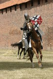 Knight on horse. With weapon in hand Royalty Free Stock Photography