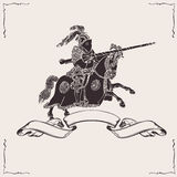 Knight on horseback. Black knight on horseback with spear fighting Royalty Free Stock Photos