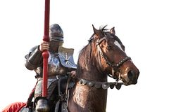 Knight on horseback. Horse in armor with knight holding lance. H. Orses on the medieval battlefield Stock Photo