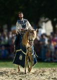 Knight on horseback. Horse show at medieval festivals in France Luzarches stock image