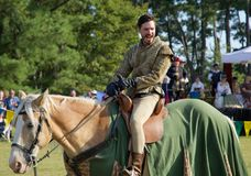 A Knight on horseback at the Mid-South Renaissance Faire. Royalty Free Stock Photo