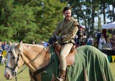 A Knight on horseback at the Mid-South Renaissance Faire. Royalty Free Stock Photo