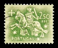 Knight on horseback (from the seal of King Dinis), Equestrian Seal of King Diniz serie, circa 1953. MOSCOW, RUSSIA - FEBRUARY 10, 2019: A stamp printed in stock photos
