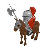 Knight on horseback with a spear. Vector. Isometric Royalty Free Stock Photo