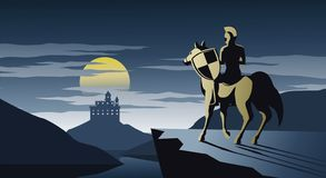 Knight on horseback stand on cliff look to castle and try to go there,silent and scary night,silhouette design stock illustration