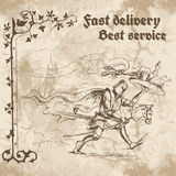 Knight in a hurry to deliver Royalty Free Stock Images