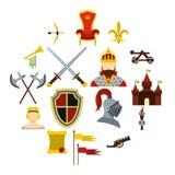 Knight icons set, flat style. Knight icons set. Flat illustration of 16 knight icons for web royalty free illustration