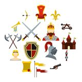 Knight icons set, flat style. Knight icons set. Flat illustration of 16 knight vector icons for web Vector Illustration