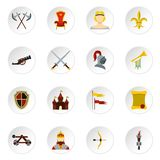 Knight icons set, flat style. Knight icons set. Flat illustration of 16 knight vector icons set illustration Royalty Free Stock Photography