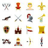 Knight icons set, flat style. Knight icons set. Flat illustration of 16 knight vector icons for web Stock Illustration