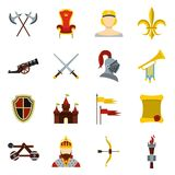 Knight icons set, flat style. Knight icons set. Flat illustration of 16 knight icons for web Vector Illustration