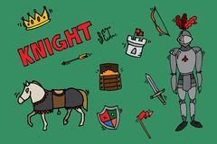 Knight icons set Royalty Free Stock Photo