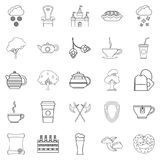 Knight icons set, outline style Royalty Free Stock Photography