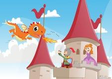 Knight il combattimento del drago per proteggere la principessa illustrazione vettoriale