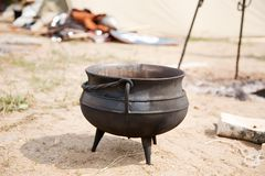 Knight kettle. Placed in camp during historical festival Stock Images