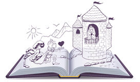 Knight is kneeling in front of princess in castle. Open book Royalty Free Stock Image