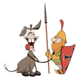 A knight and knightly donkey Royalty Free Stock Photography