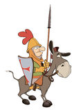 A knight and knightly donkey. The Viking with a spear sits on a donkey Royalty Free Stock Images