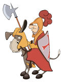 A knight and knightly donkey. The Viking with a spear sits on a donkey Stock Image