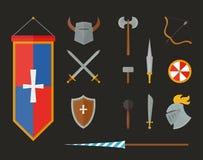 Knight la armadura con el ejemplo plano del vector del casco, de la placa del pecho, del escudo y de la espada aislado en el fond Imagenes de archivo