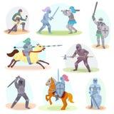 Knight la orden de caballería medieval del vector y el carácter caballeresco con el sistema del ejemplo de la armadura del casco  Fotografía de archivo