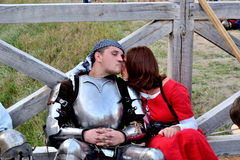 Knight with ladylove. International Championship on the historical medieval battle Call of heroes. It passes near Kiev, in the village of Kopachev, Ukraine, 19 Stock Photography