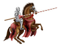 Knight with lance on horse. Illustration of a knight mounted on a horse holding a lance ready to joust Stock Photo