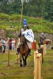 Knight with lance on horseback Royalty Free Stock Photography