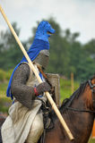 Knight with lance on horseback Royalty Free Stock Images