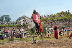 Knight with lance on horseback Stock Photography