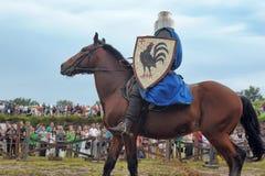 Knight with lance on horseback Royalty Free Stock Photo