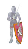 Knight with lifted throw. A shield on a white background Stock Images