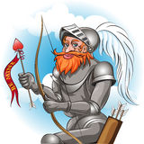 Knight in love. Knight in the armour with bow and arrow ready to send love message to his damsel drawn in cartoon style royalty free illustration