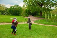 Knight& x27; luta da espada de s imagens de stock royalty free