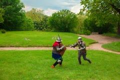 Knight& x27; luta da espada de s fotografia de stock royalty free