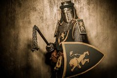 Knight with mace. Medieval knight with a weapon royalty free stock photo