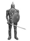 Knight made from spares. Handmade knight made from spares, isolated on white Royalty Free Stock Photo