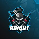 Knight mascot logo vector design with modern illustration concept style for badge, emblem and t shirt printing. head knight stock illustration