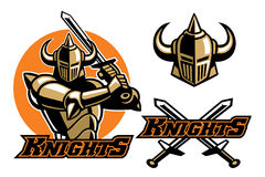 Knight mascot swinging the sword Stock Photos