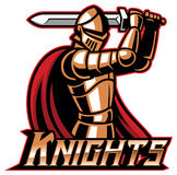 Knight mascot with sword Stock Photos