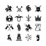Knight medieval history vector icons set.. Middle ages warrior weapons. Arrow and crown, clown and knight, kingdom and throne illustration Stock Images