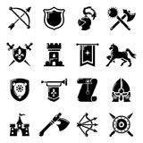 Knight medieval icons set, simple style Royalty Free Stock Photography