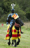 Knight at the Medieval Joust competition. A Grand Medieval Joust at Kenilworth Castle  - Jousting competition on the medieval weekend Stock Image